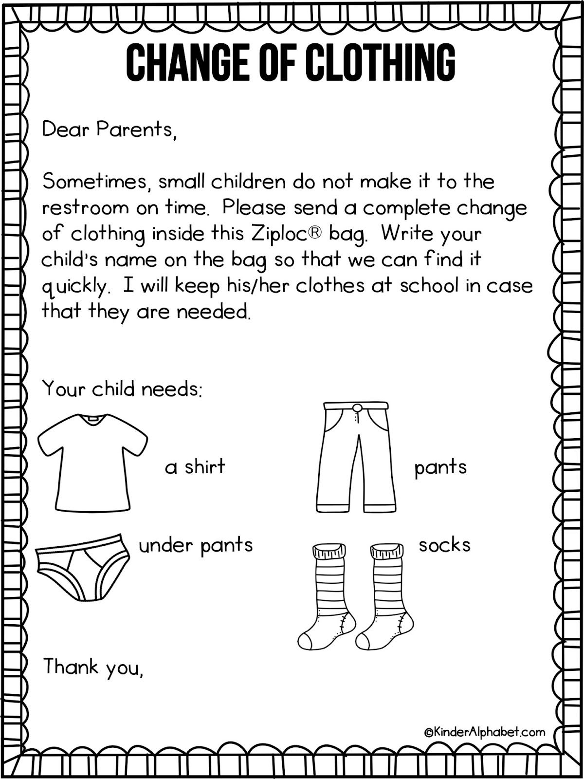Kindergarten Welcome Letter Template - Parent Letter for Change Of Clothing Free From Kinderalphabet Via