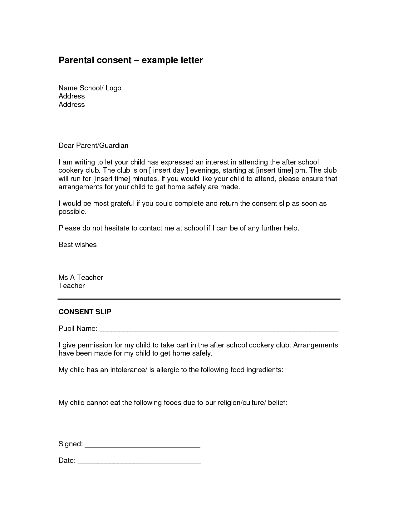 Parental Consent Permission Letter Template - Parental Authorization Letter for Example Children Travelling