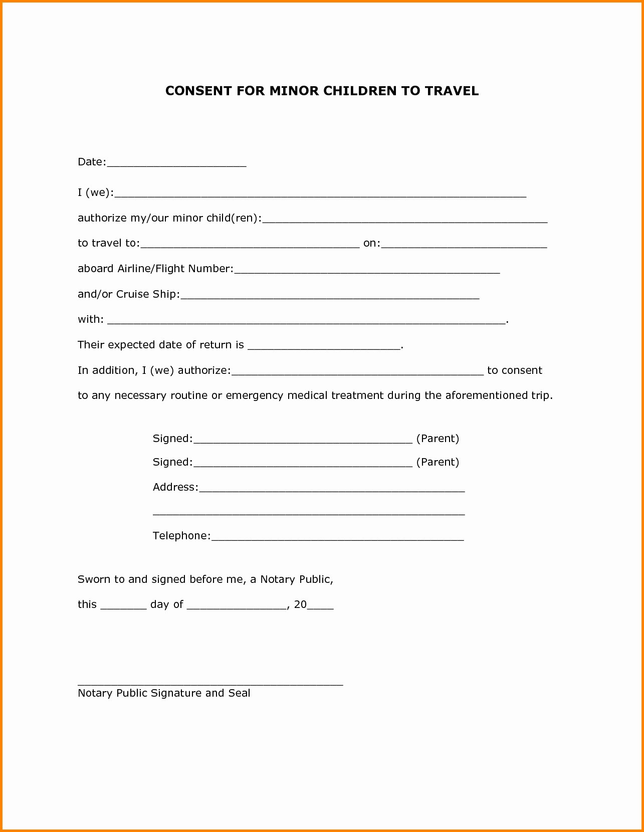 Child Travel Consent Letter Template - Parental Consent form Template Elegant Travel Consent Letter Best