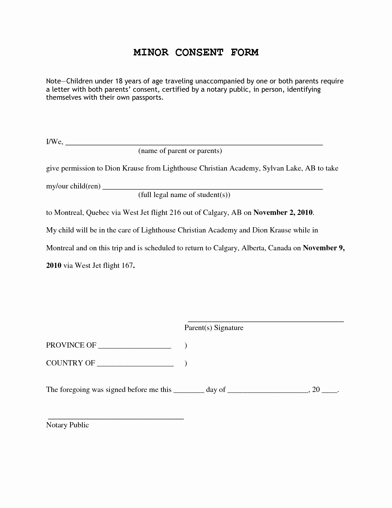 Letter Of Consent for Travel Of A Minor Child Template - Parental Consent form Template Uk Best Parental Consent form