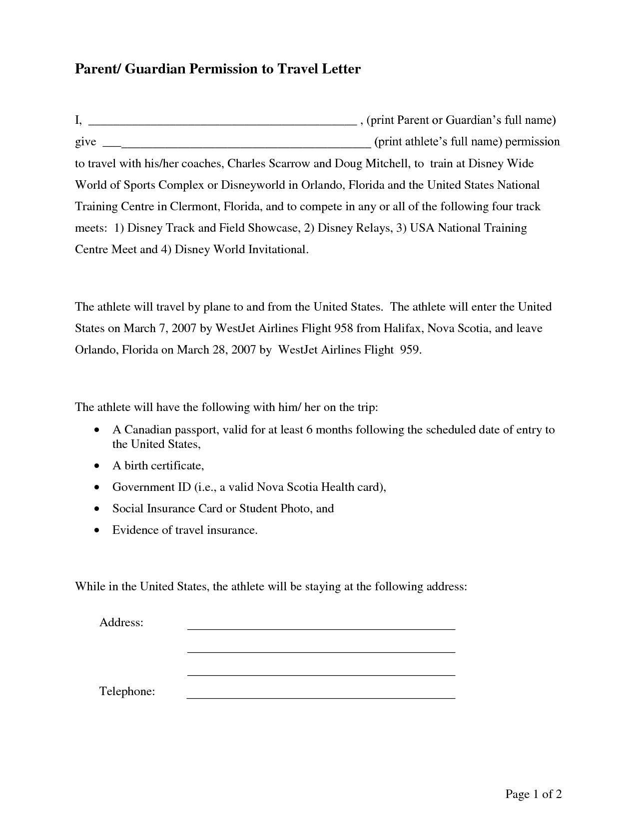 Permission to Travel Letter Template - Parental Consent Permission Letter Sample