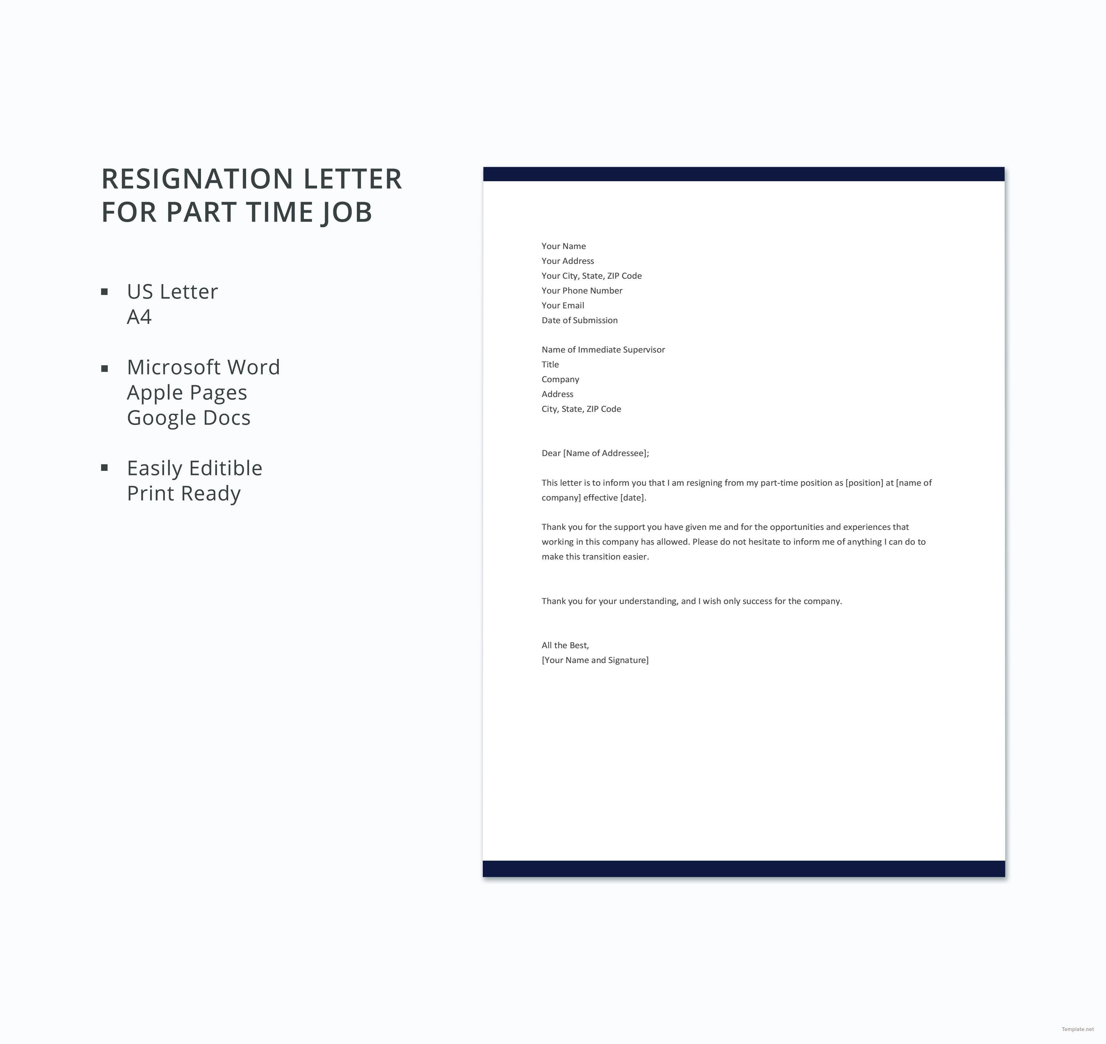 Free Resignation Letter Template Microsoft Word Download - Part Time Job Resignation Letter Inspirationa Free Part Time Job