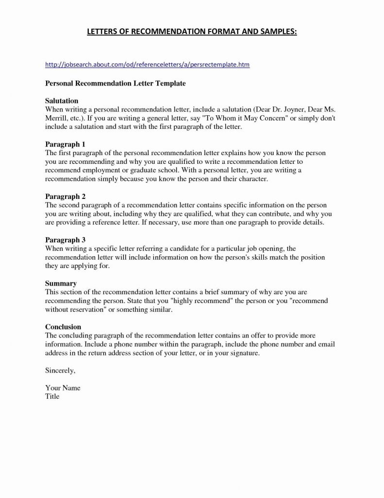 Personal Recommendation Letter Template Samples | Letter