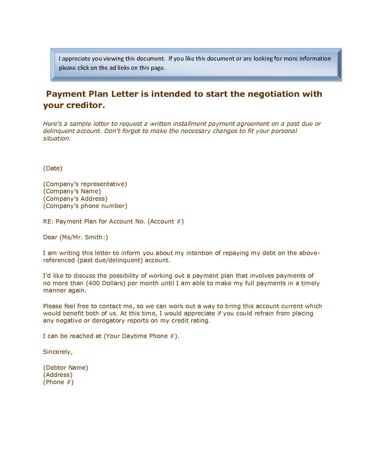 Payment Plan Letter Template - Payment Plan Agreement Inspirational 20 Inspirational Payment