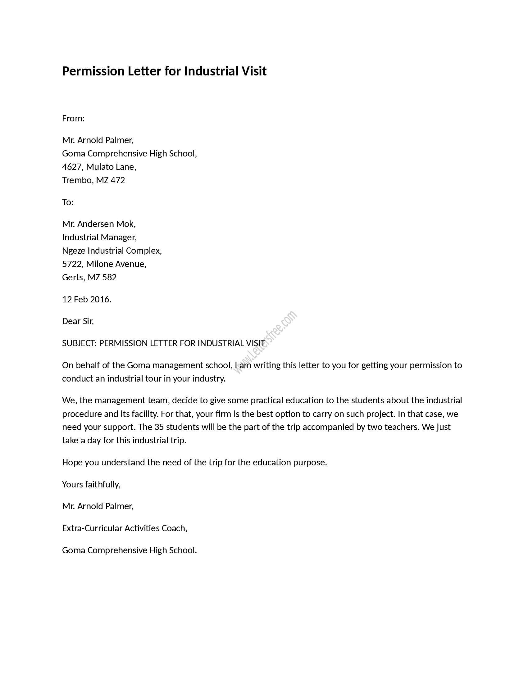 Parent Permission Letter Template - Permission Letter for Industrial Visit Pinterest