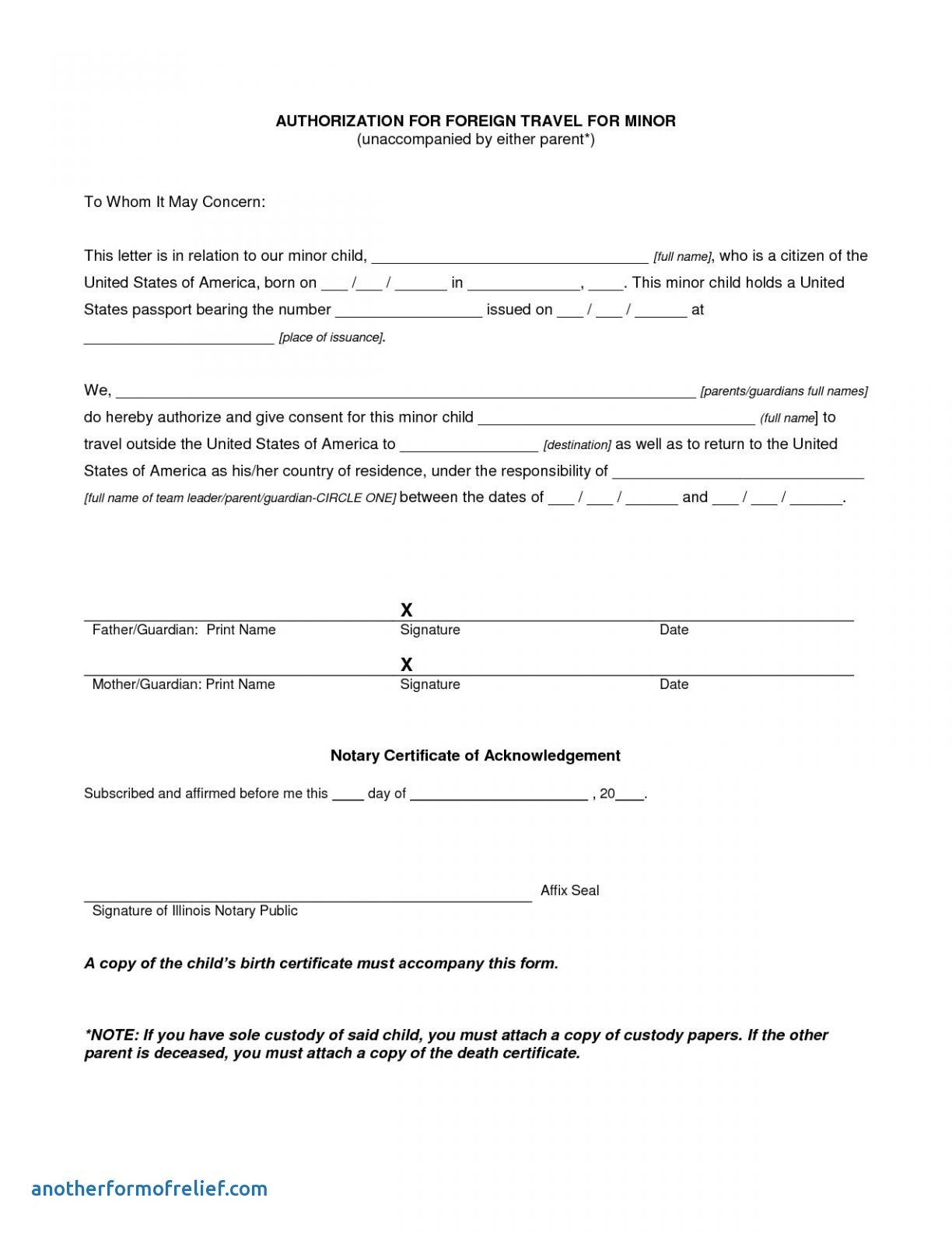 Notarized Travel Consent Letter Template - Permission Letter to Travel Refrence Microsoft Word Consent