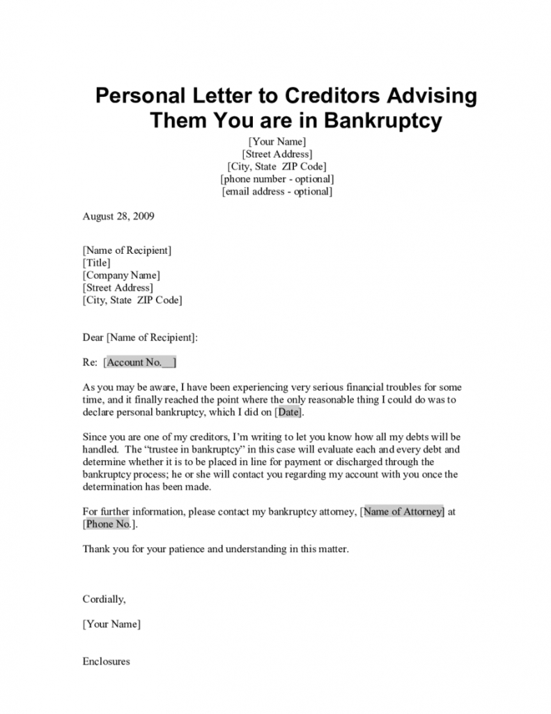 personal letter format insolvency letter to creditors template samples letter 50016