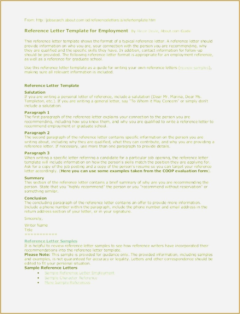 Template for Letter Of Reference for Employment - Personal Reference Letter Sample Free Download Best solutions