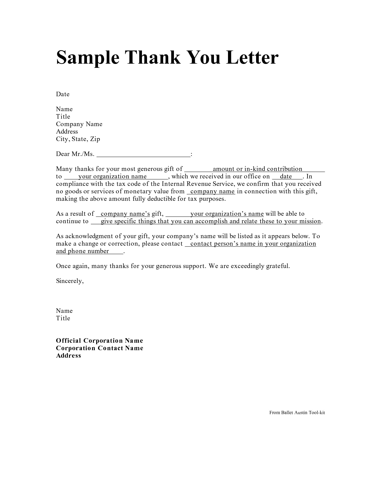 Tax Deductible Donation Thank You Letter Template - Personal Thank You Letter Personal Thank You Letter Samples