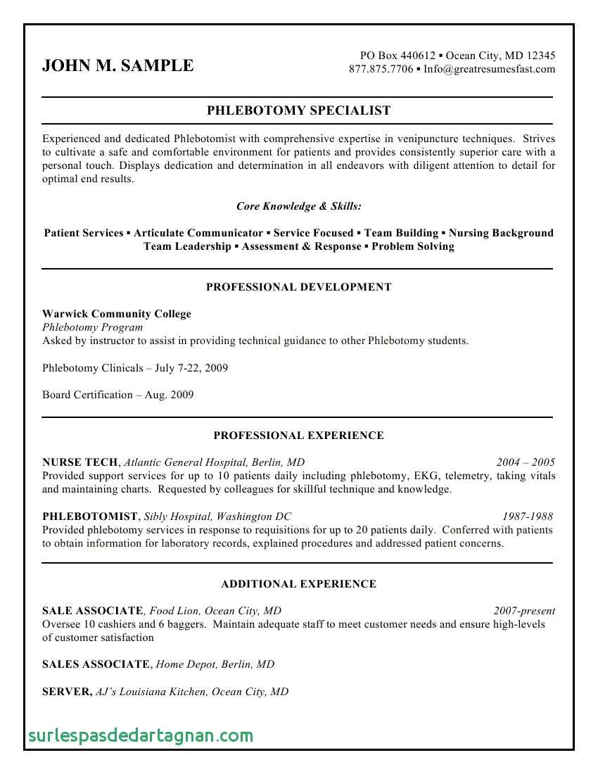 Phlebotomy Cover Letter Template - Phlebotomist Resume Sample Paragraphrewriter