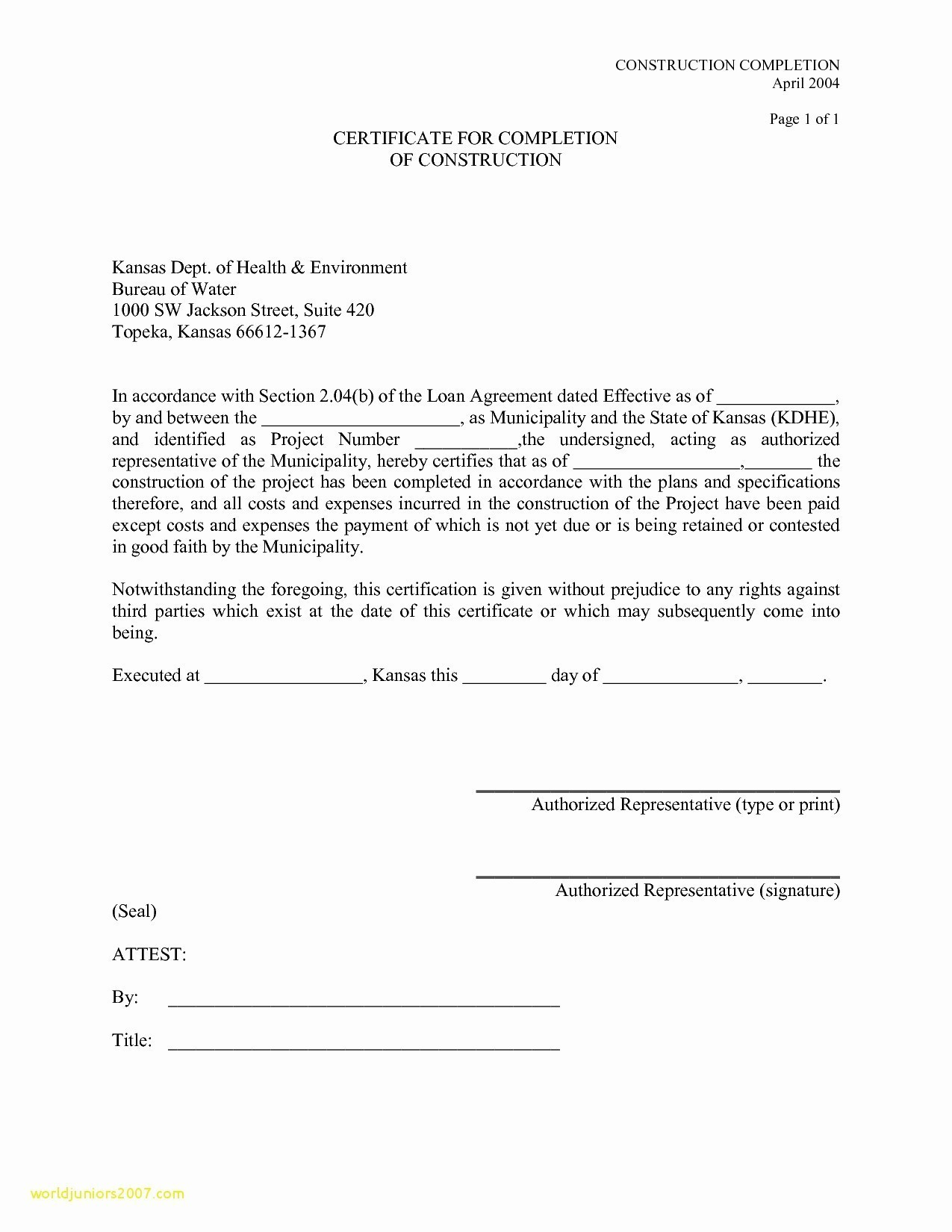 Letter Of Substantial Completion Template - Pletion Certificate Template for Construction New Pletion