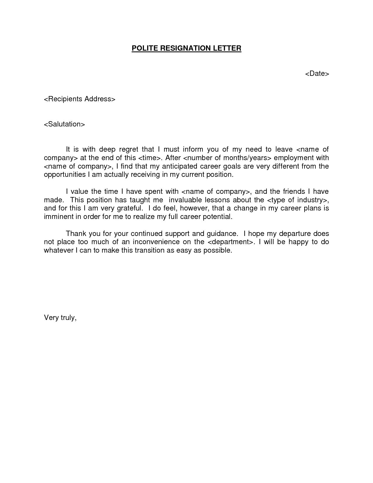 Short Resignation Letter Template - Polite Resignation Letter Bestdealformoneywriting A Letter