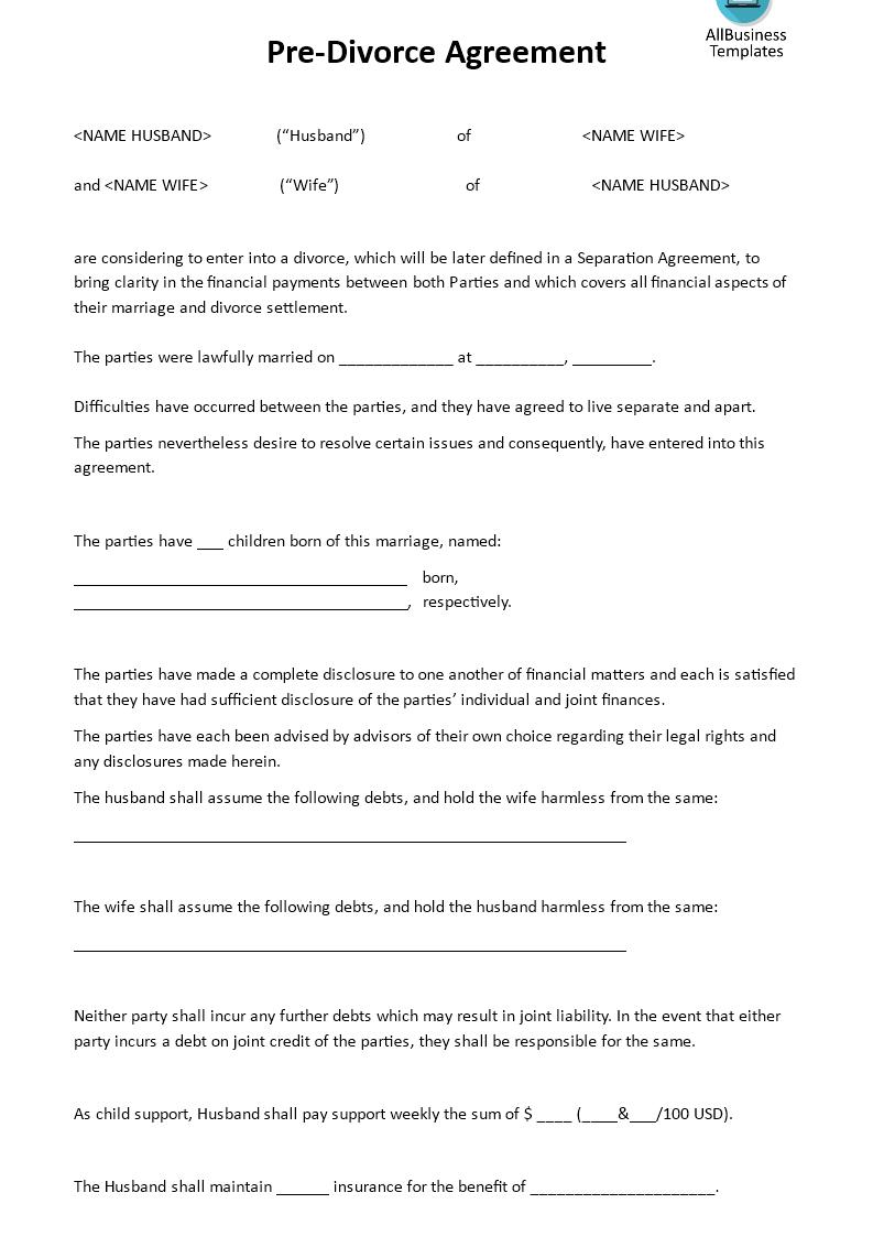 Guardianship Letter Template - Pre Divorce Agreement Download This Pre Divorce Agreement Tem