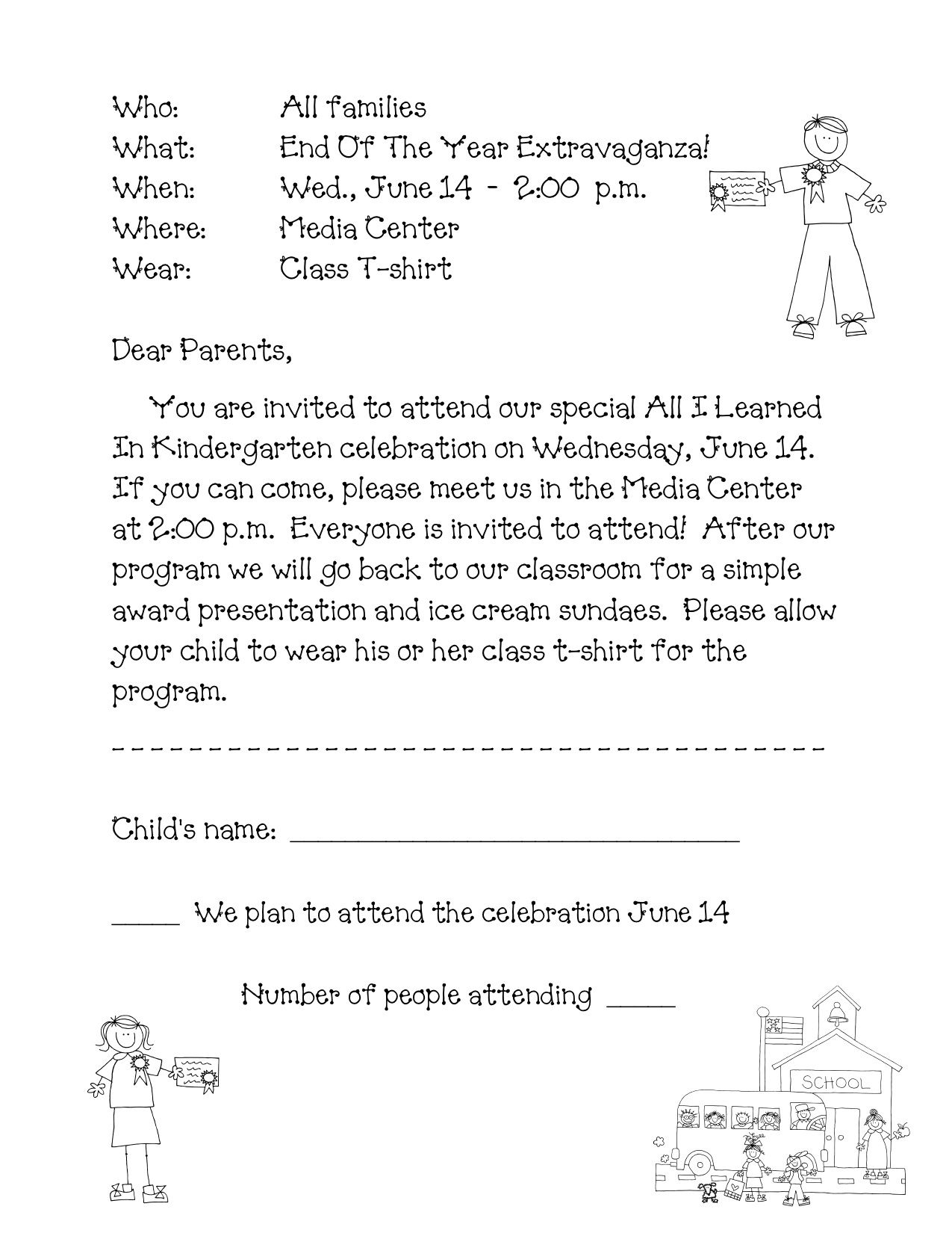 Kindergarten Welcome Letter Template - Preschool Graduation Program Sample Google Search