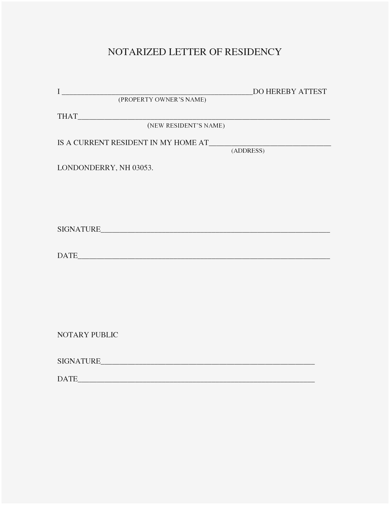 Notarized Letter Template for Residency - Printable Notarized Letter Residency Template Samples How to