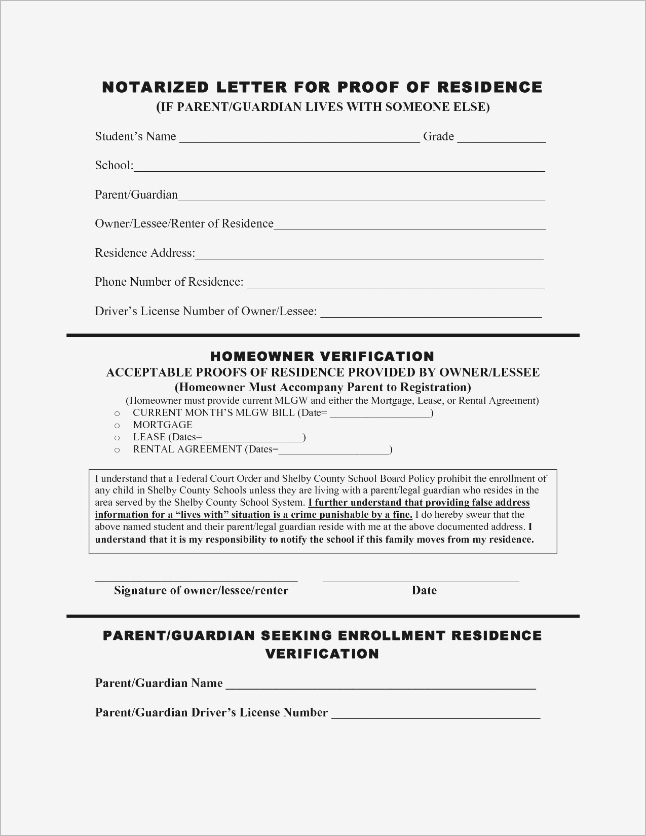 Proof Of Residency Letter Template - Printable Notarized Letter Residency Template Samples