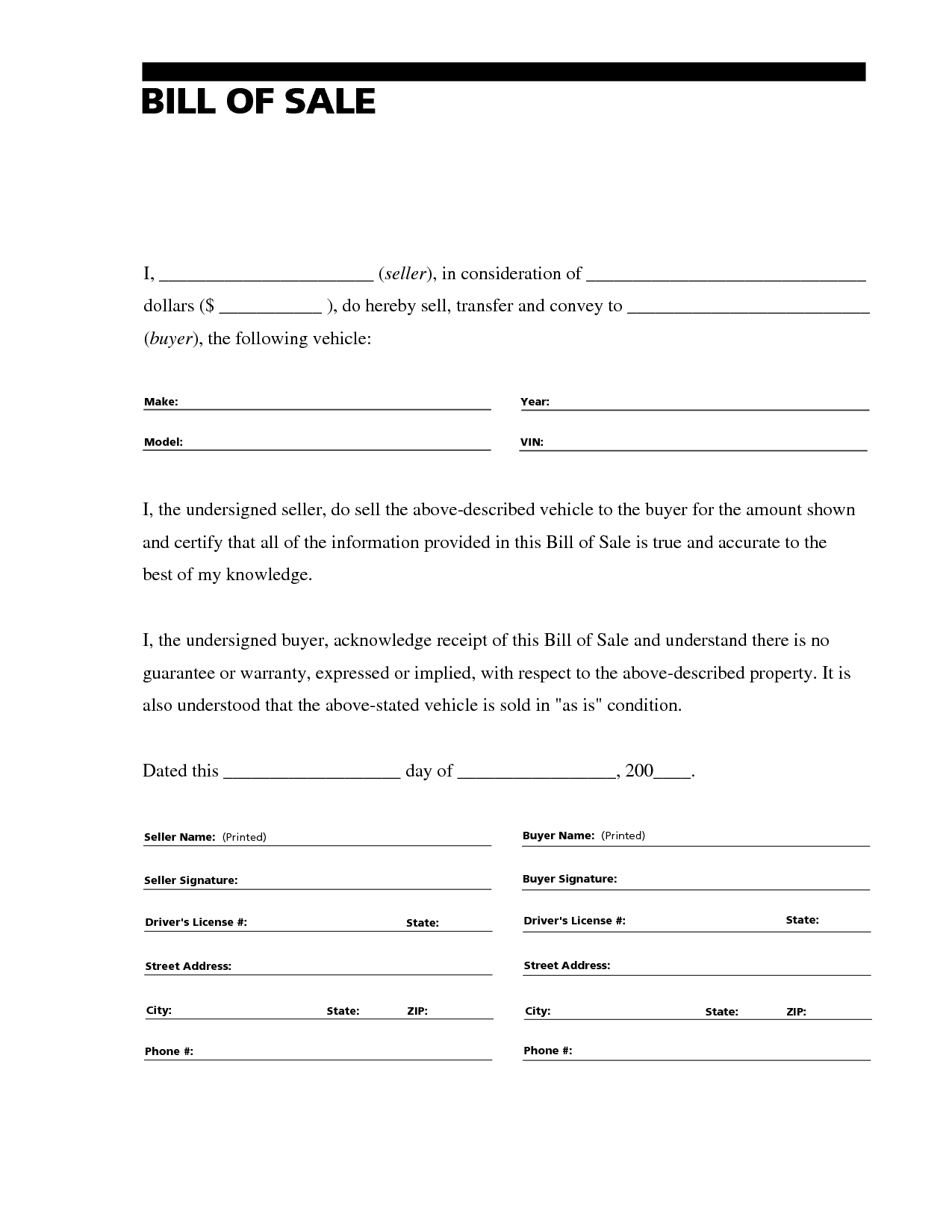 Letter to Seller From Buyer Template - Printable Sample Bill Of Sale for Rv form