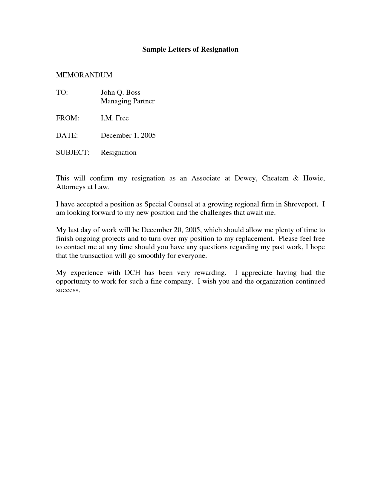 Official Letter Of Resignation Template - Printable Sample Letter Of Resignation form