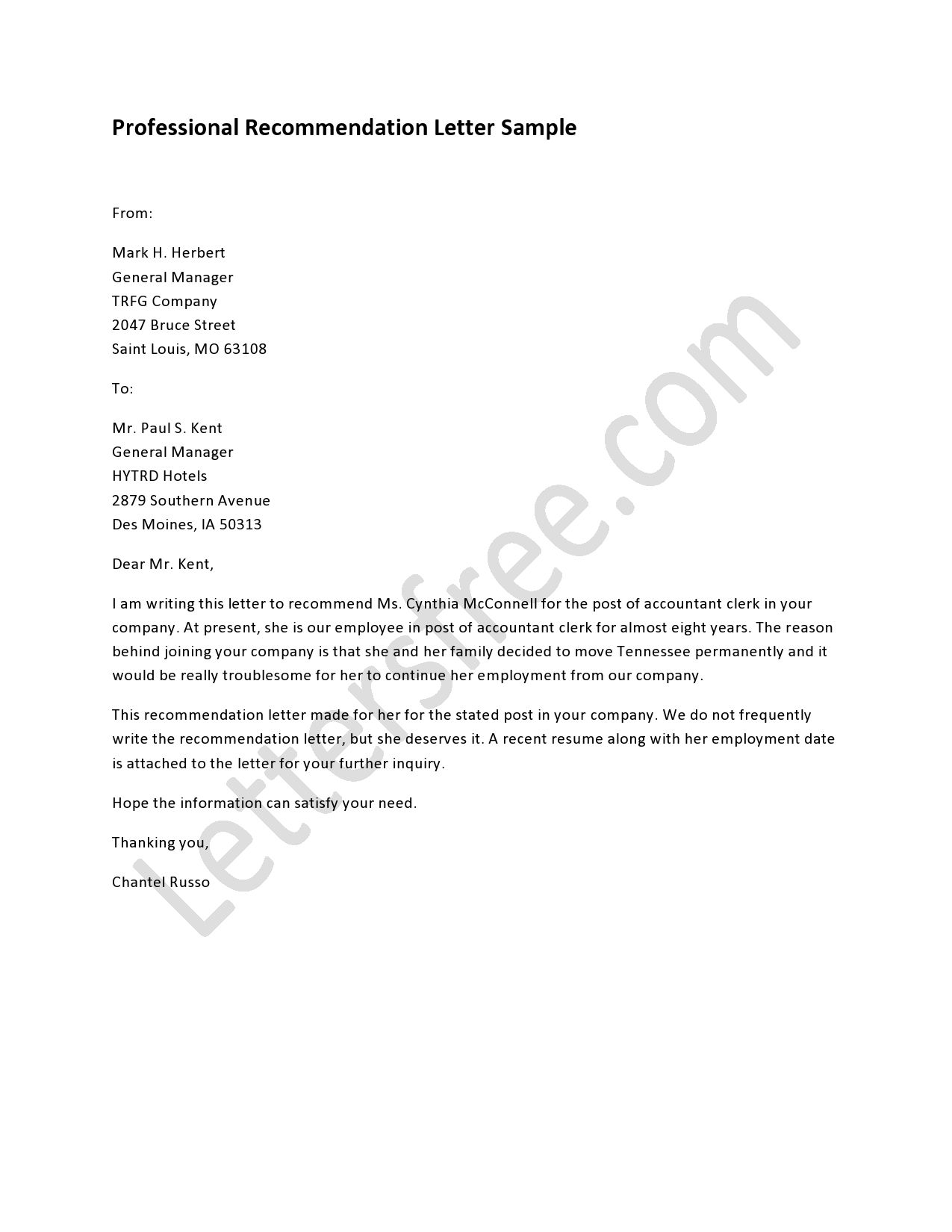 Business Referral Letter Template - Professional Re Mendation Letter Pinterest