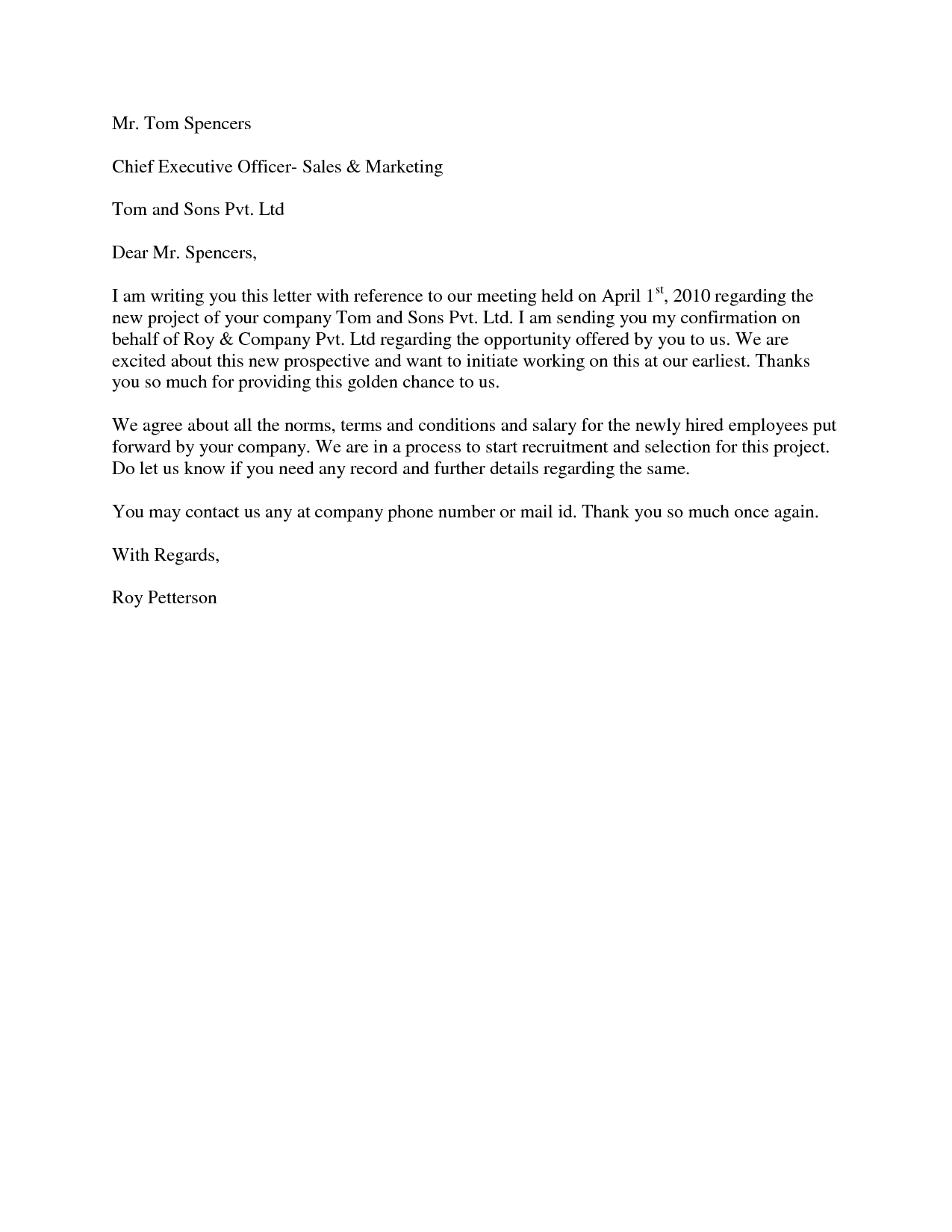 business proposal acceptance letter template