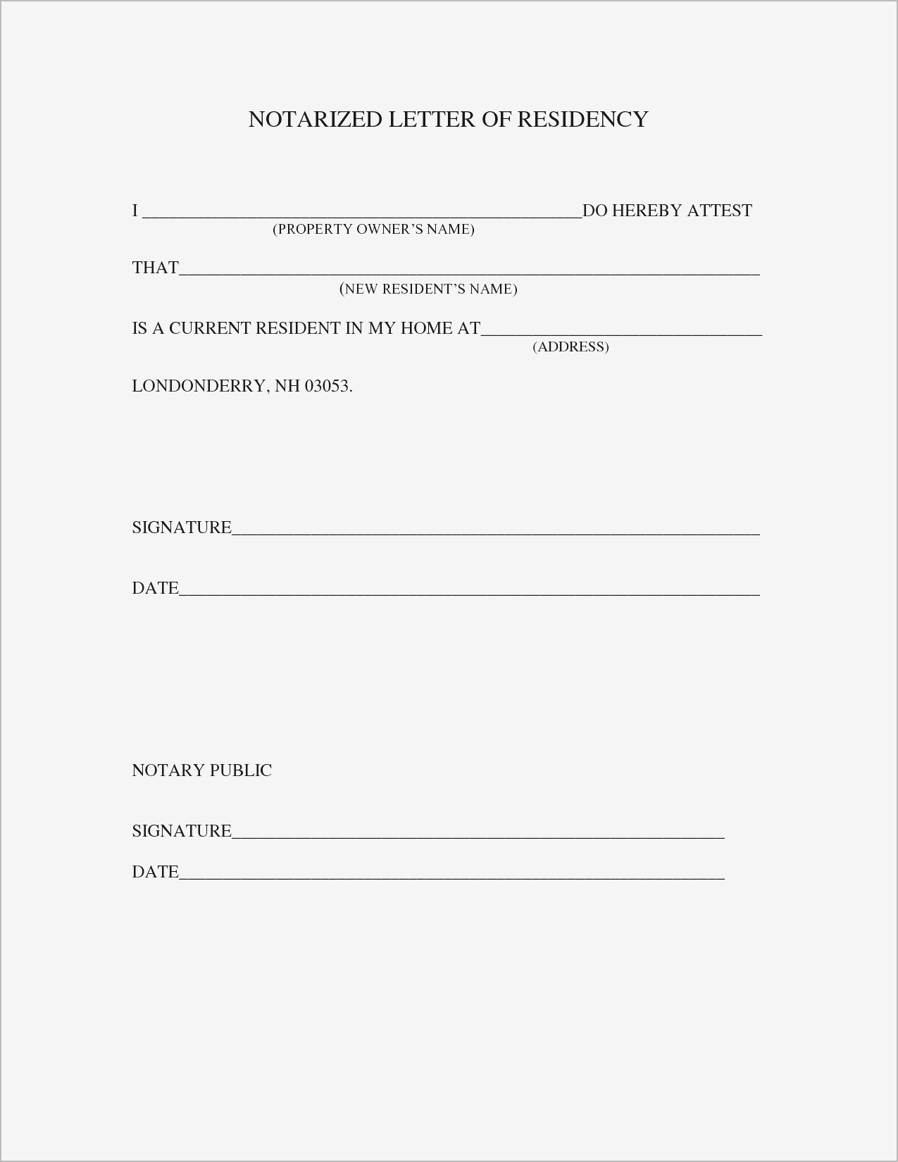 Proof Of Residency Letter Notarized Template - Proof Residency Letter Sample Best Printable Notarized Letter