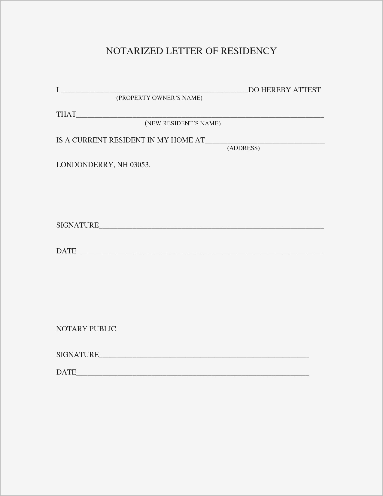 Proof Of Residency Letter Template Word - Proof Residency Letter Template Word Samples