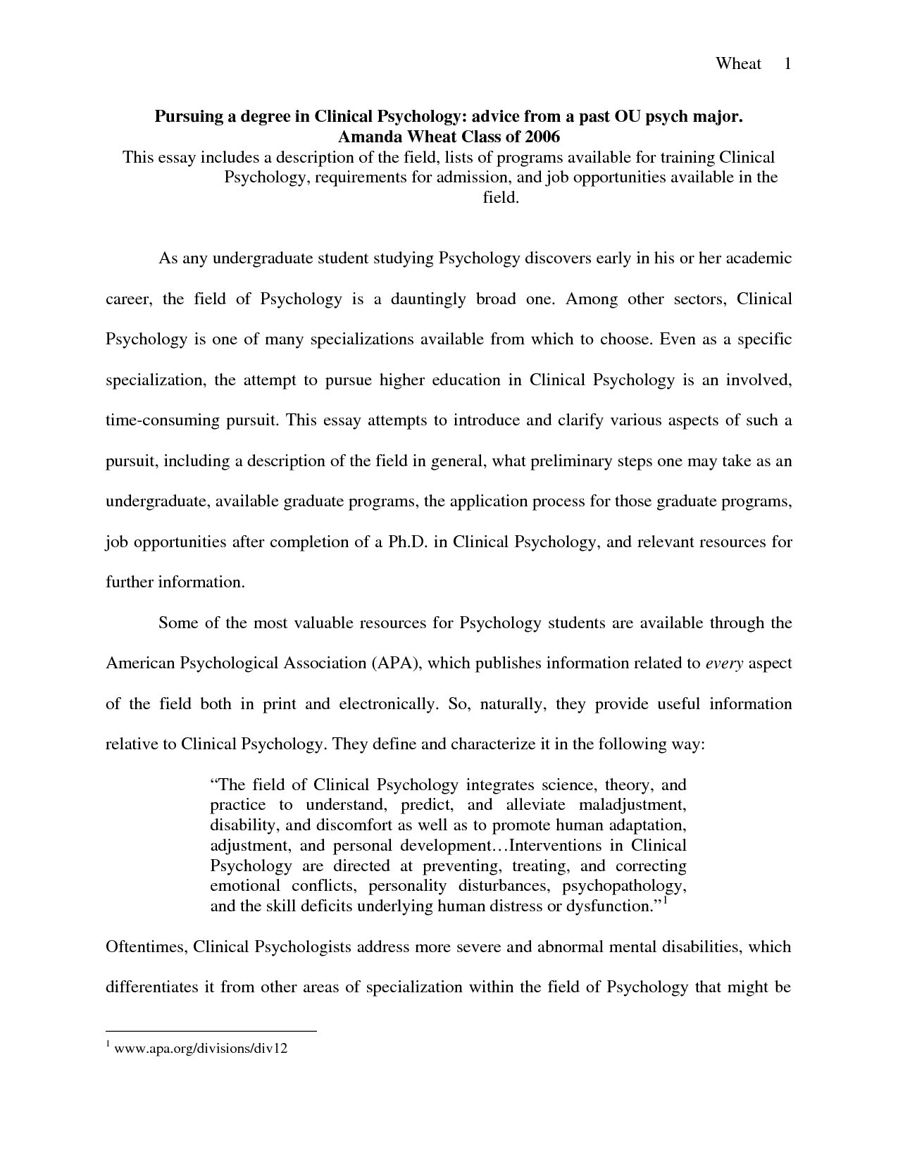 Clinical Psychology Masters Personal Statement