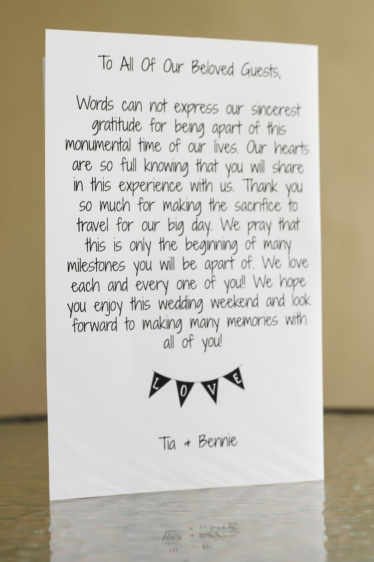 Wedding Welcome Bag Letter Template - Purple and Gold Destination Wedding In Dominican Republic