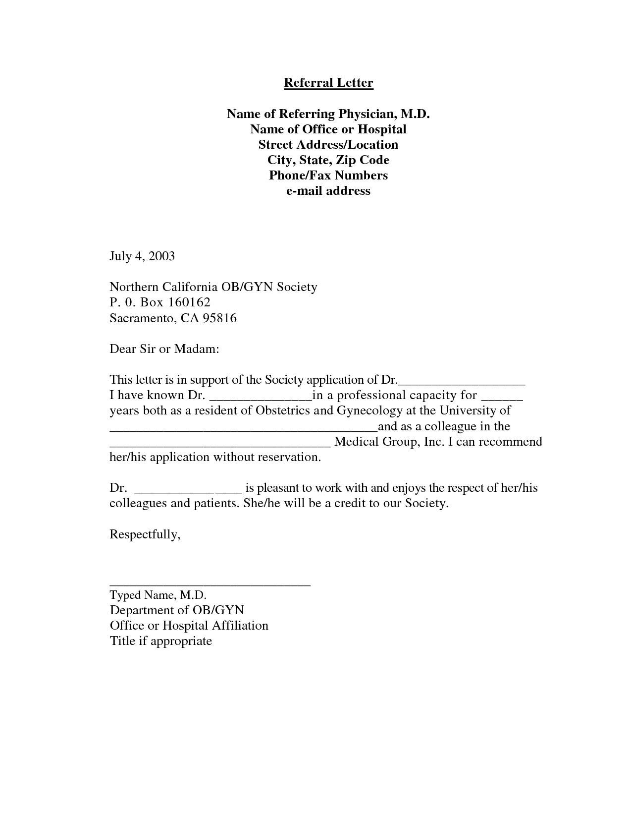 Medical Referral Letter Template - Re Mendation Letter Template Medical 2018 Re Mendation Letter