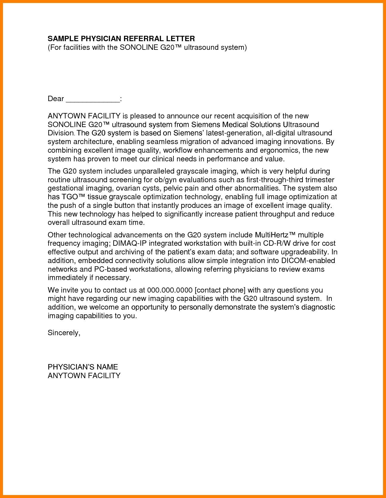 Medical Referral Letter Template - Re Mendation Letter Template Medical Resi as Re Mendation Letter