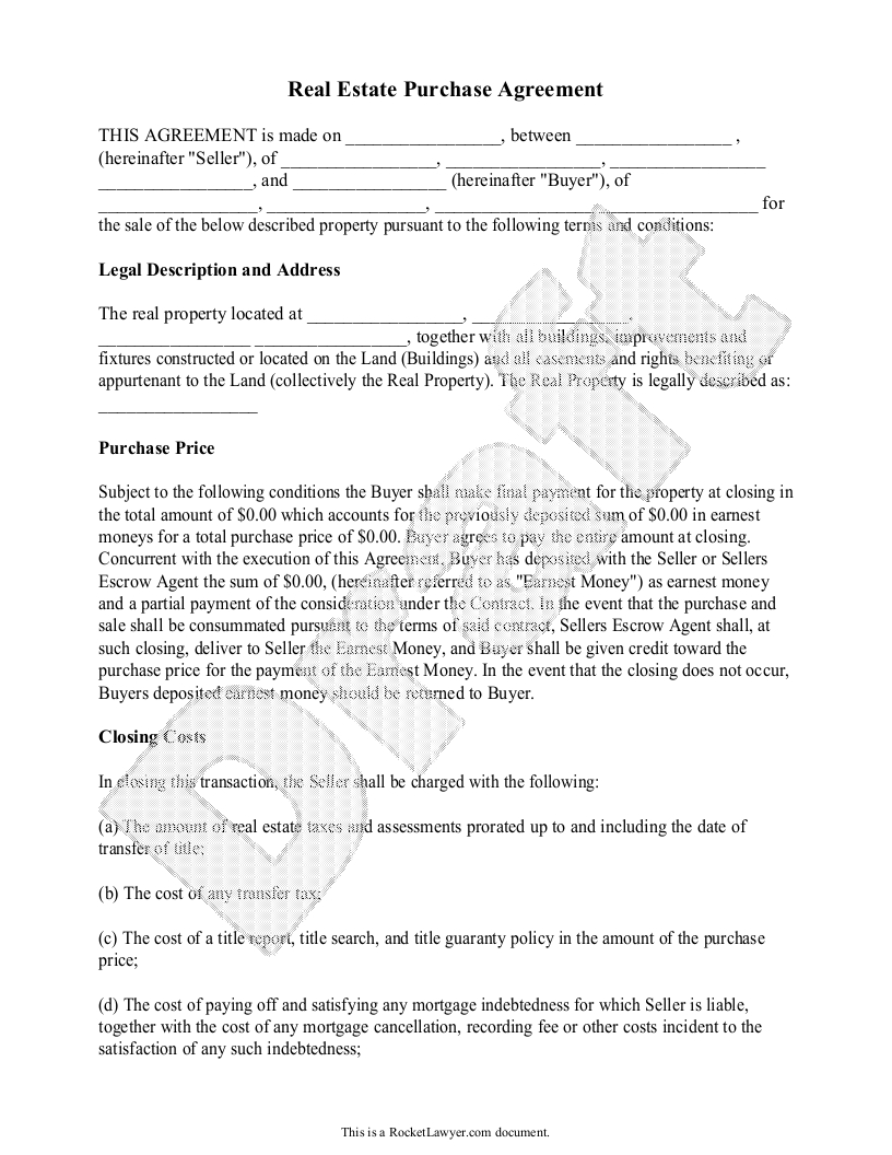Real Estate Commission Letter Template - Real Estate Purchase Agreement form Free Templates with Sample