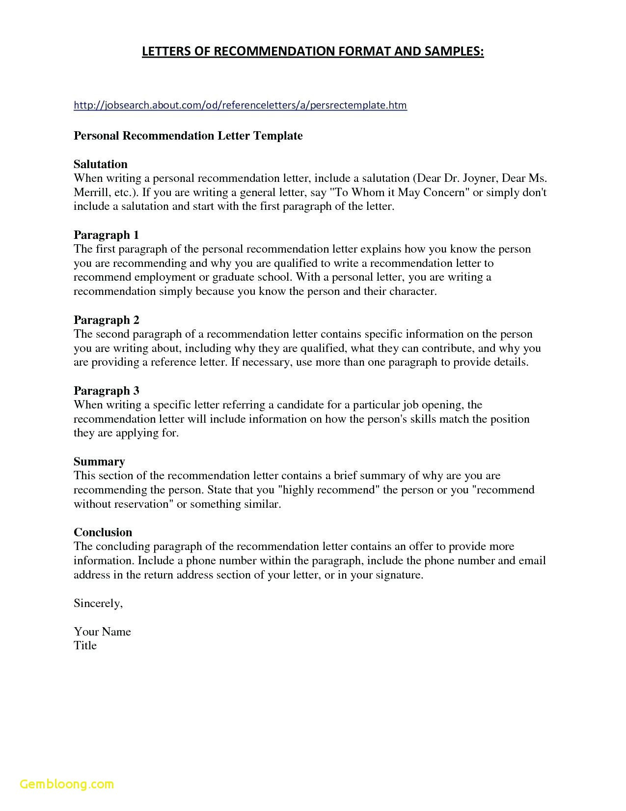Personal Recommendation Letter Template - Reference Letter format Personal Fresh References for Resume