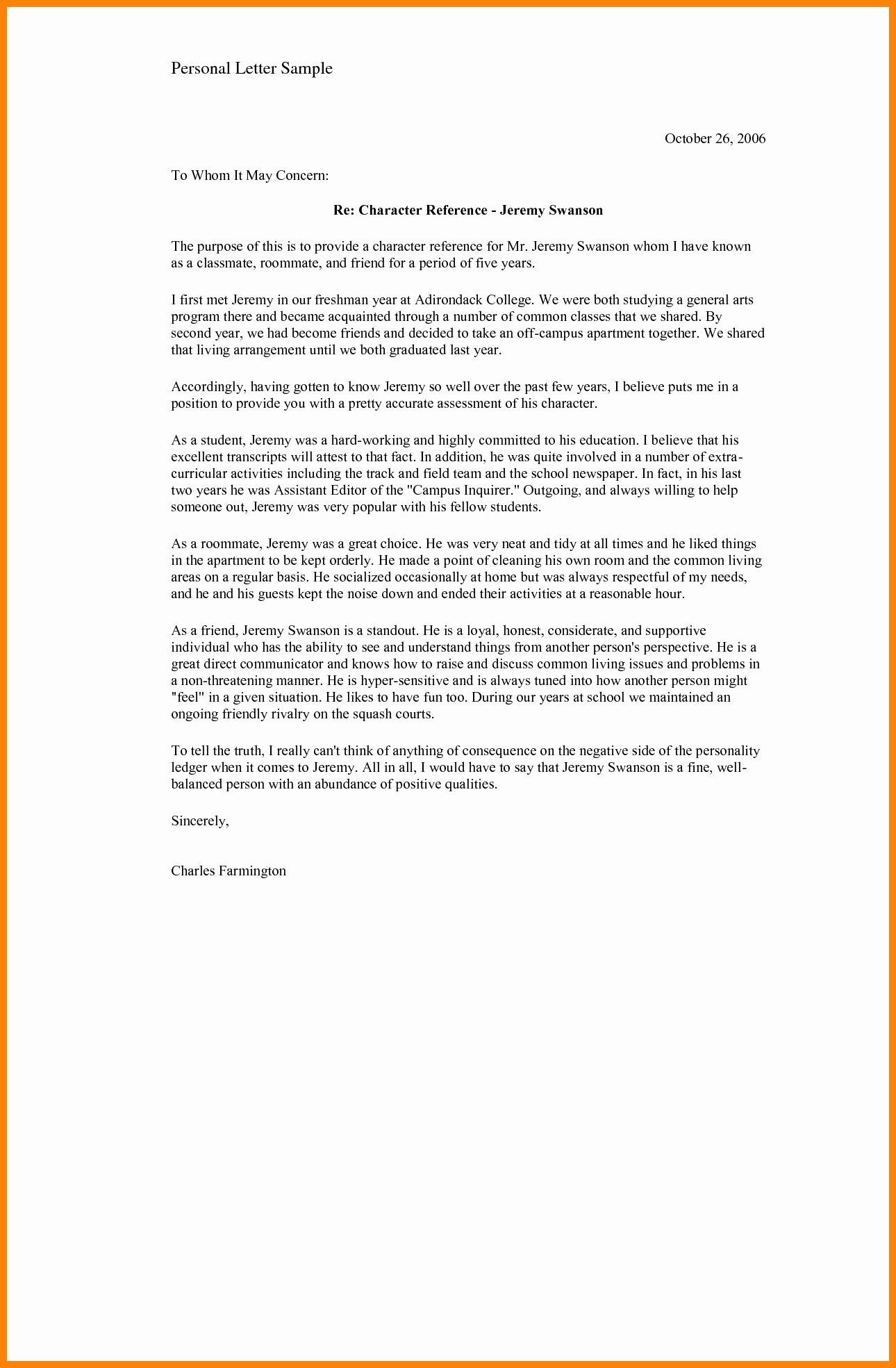 Reference Letter for Friend Character Template - Reference Letter format Personal Refrence Reference Letter format
