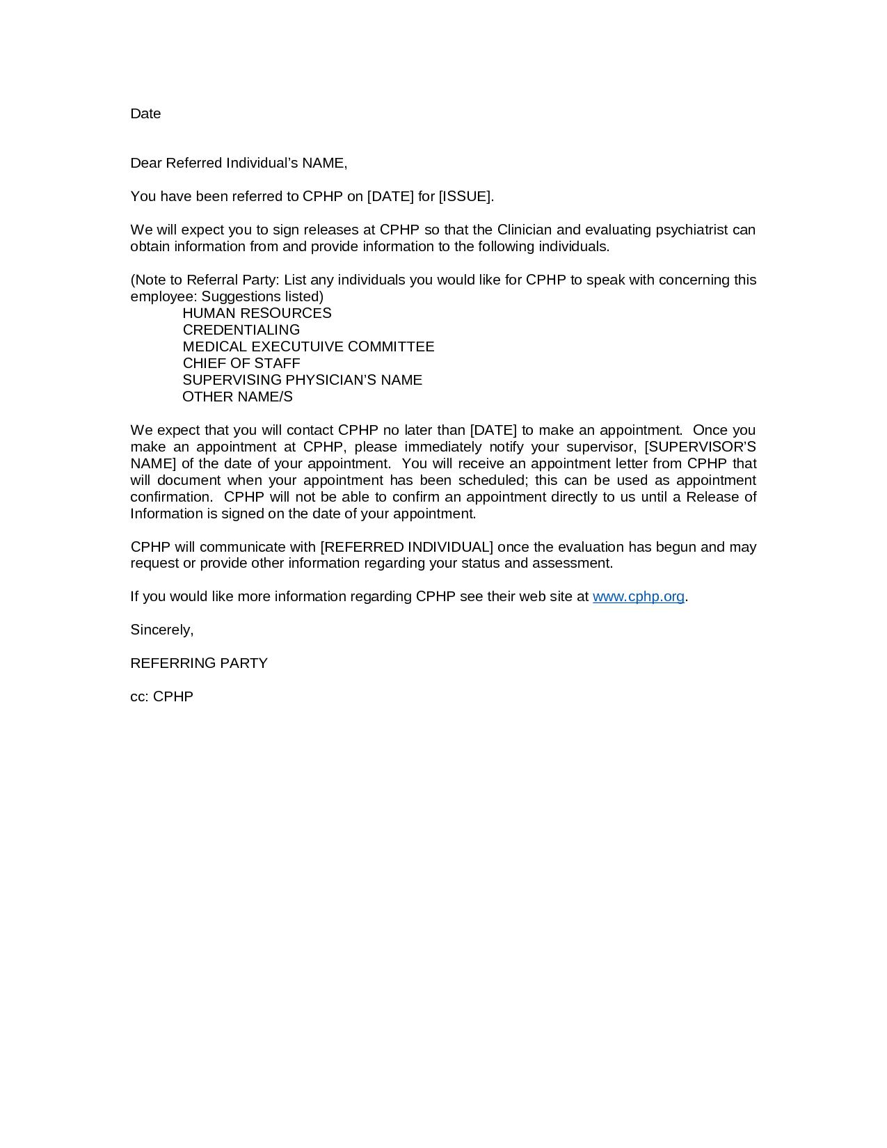 Medical Referral Letter Template - Referring Letter Gallery Letter format formal Sample