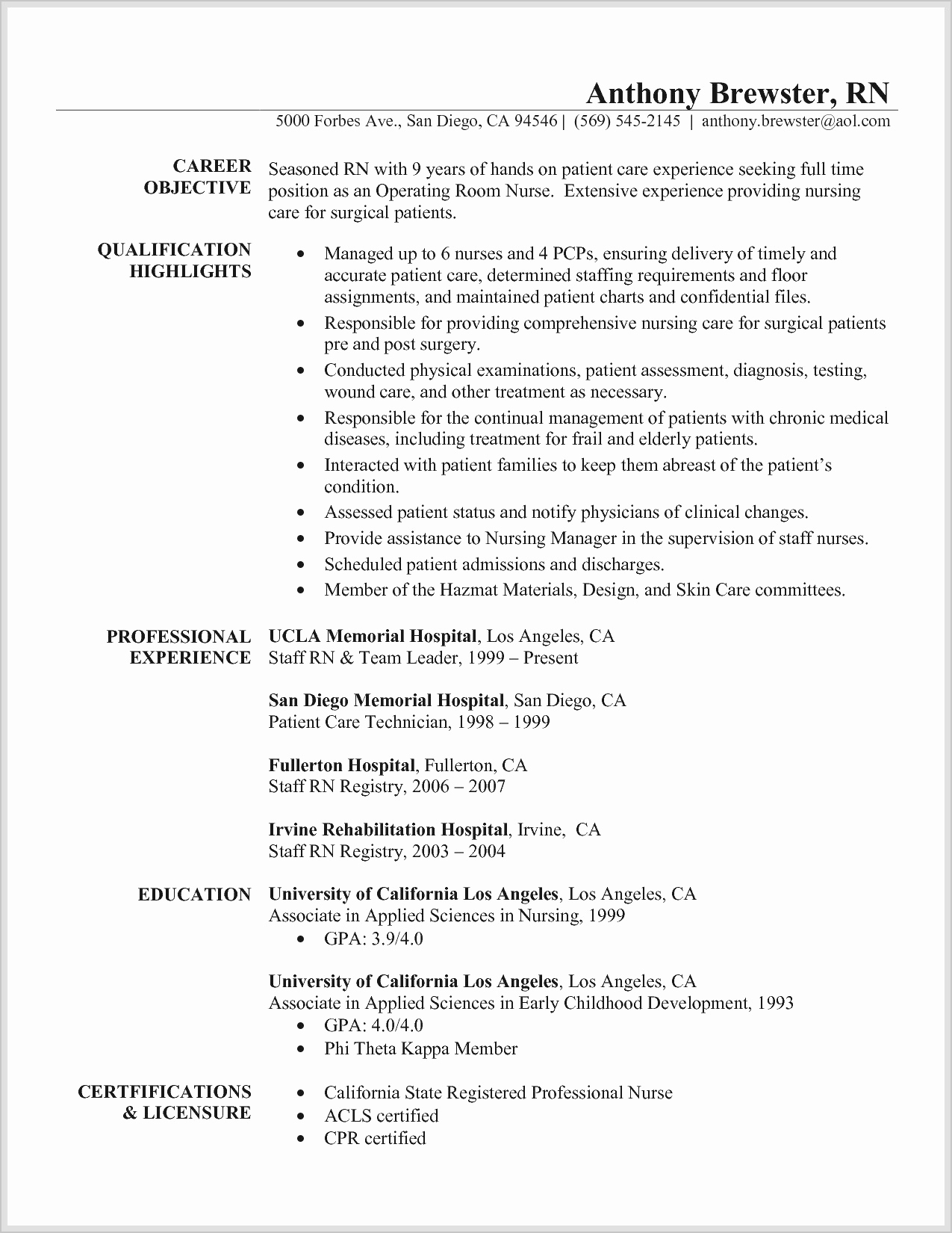 Registered Nurse Cover Letter Template - Registered Nurse Sample Resume Registered Nurse Cover Letter Sample