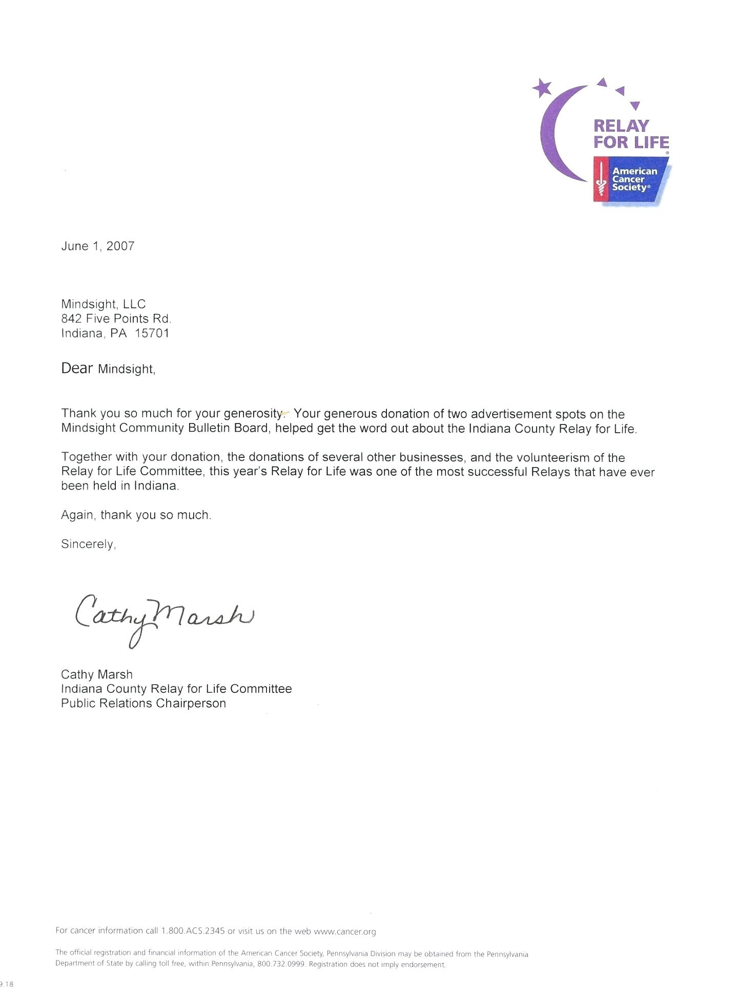 Relay for Life Donation Letter Template - Relay for Life Donation Letter