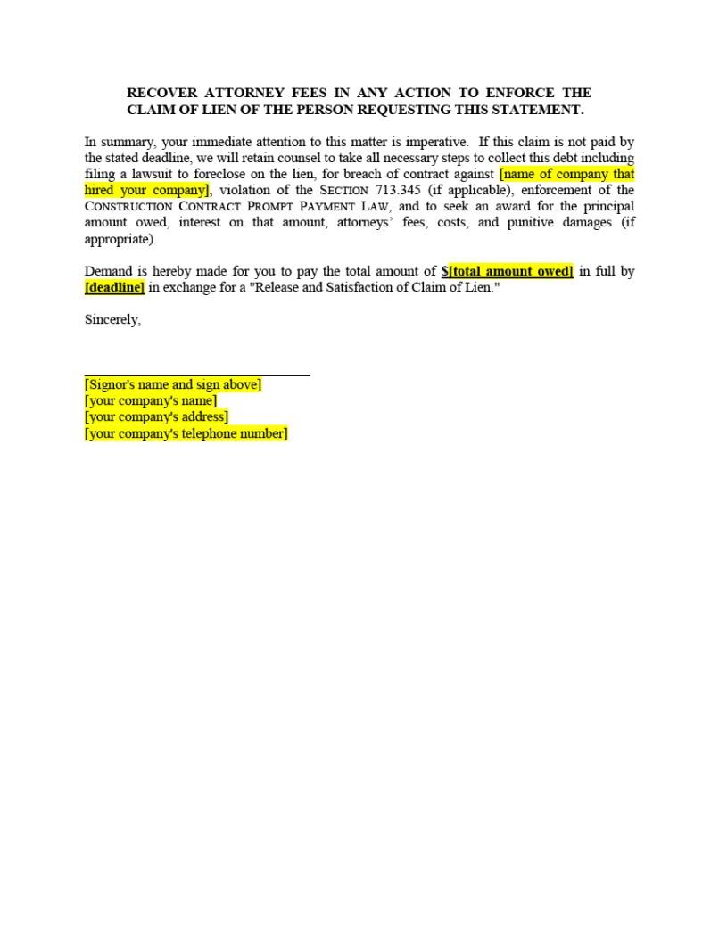 Lien Demand Letter Template - Release Lien Letter Texas