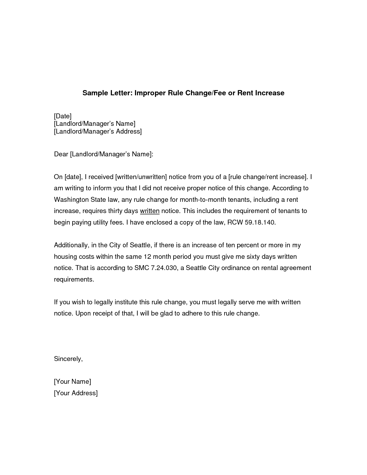 Rent Reduction Letter Template - Rent Increase Sample Letter Legal Documents
