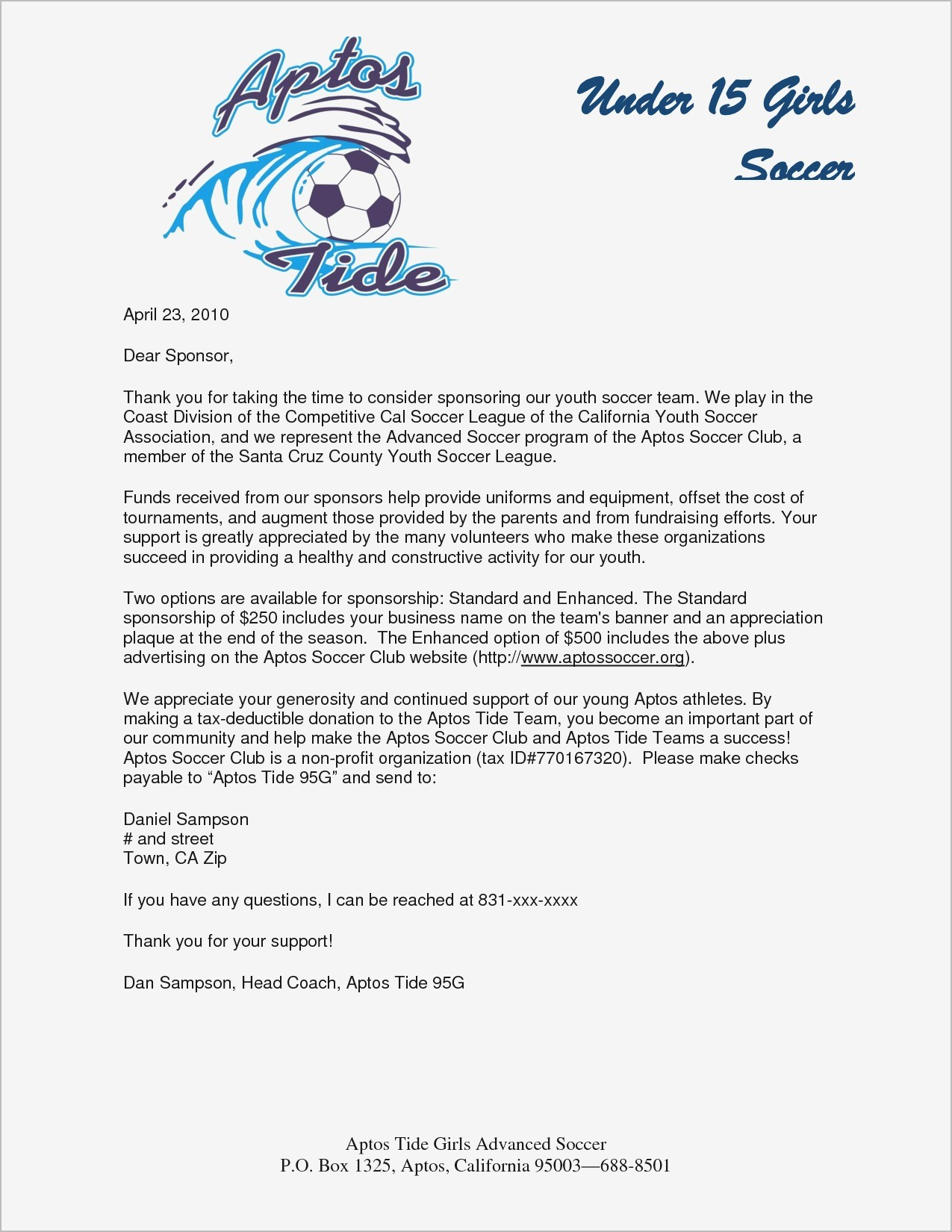 Fundraising Letter Template for Sports Teams - Request Letter format for Endorsement Fresh Sample Sponsorship