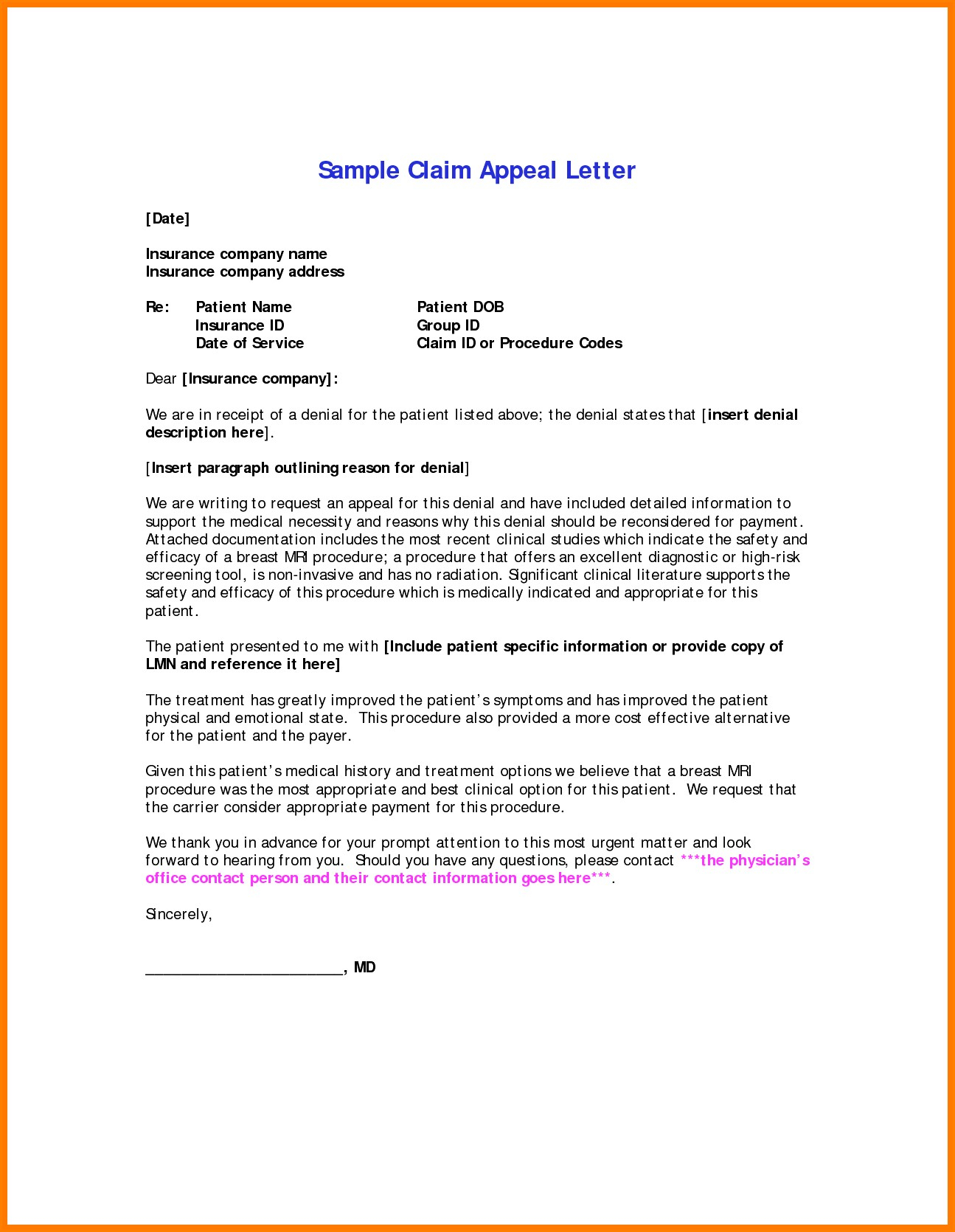letter template for optical insurance request for reconsideration for payment  Medical Claim Appeal Letter Template Examples | Letter Template ...