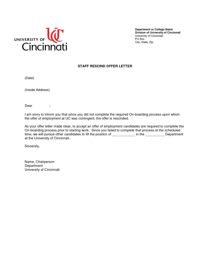 Rescission Letter Template - Rescinding Accepted Job Fer Sample Letter