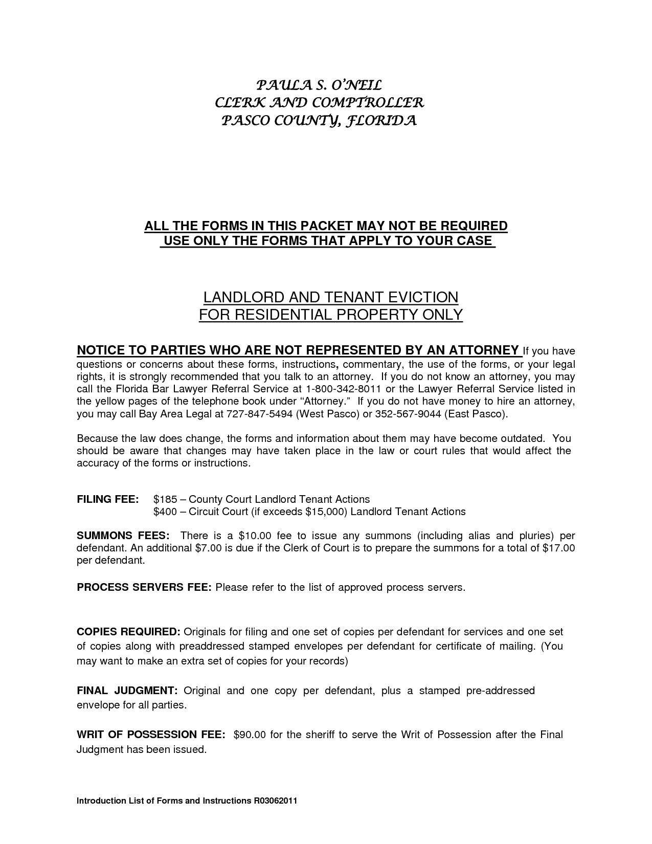 Landlord Eviction Letter Template - Residential Landlord Tenant Eviction Notice form by Ere