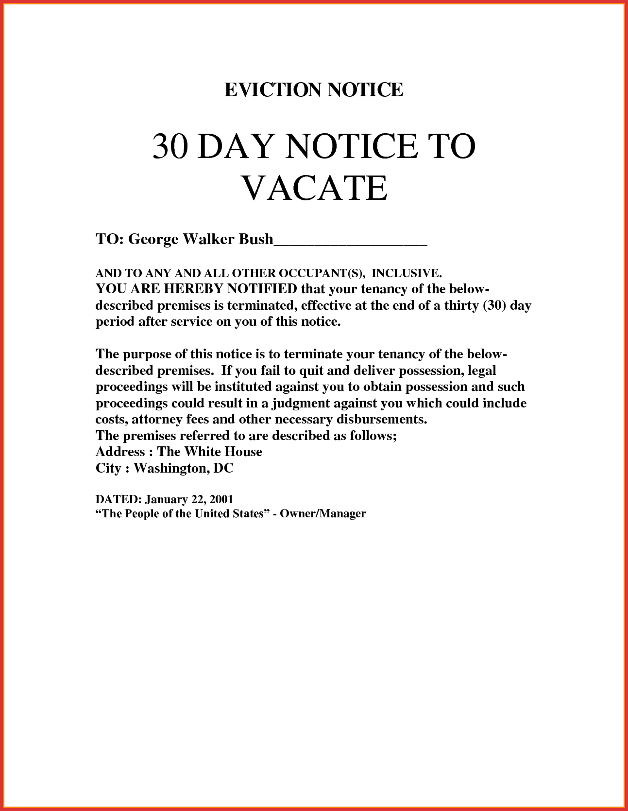 30 Day Eviction Letter Template - Resignation Letter Days Notice Day to Vacate Sample Best Eviction