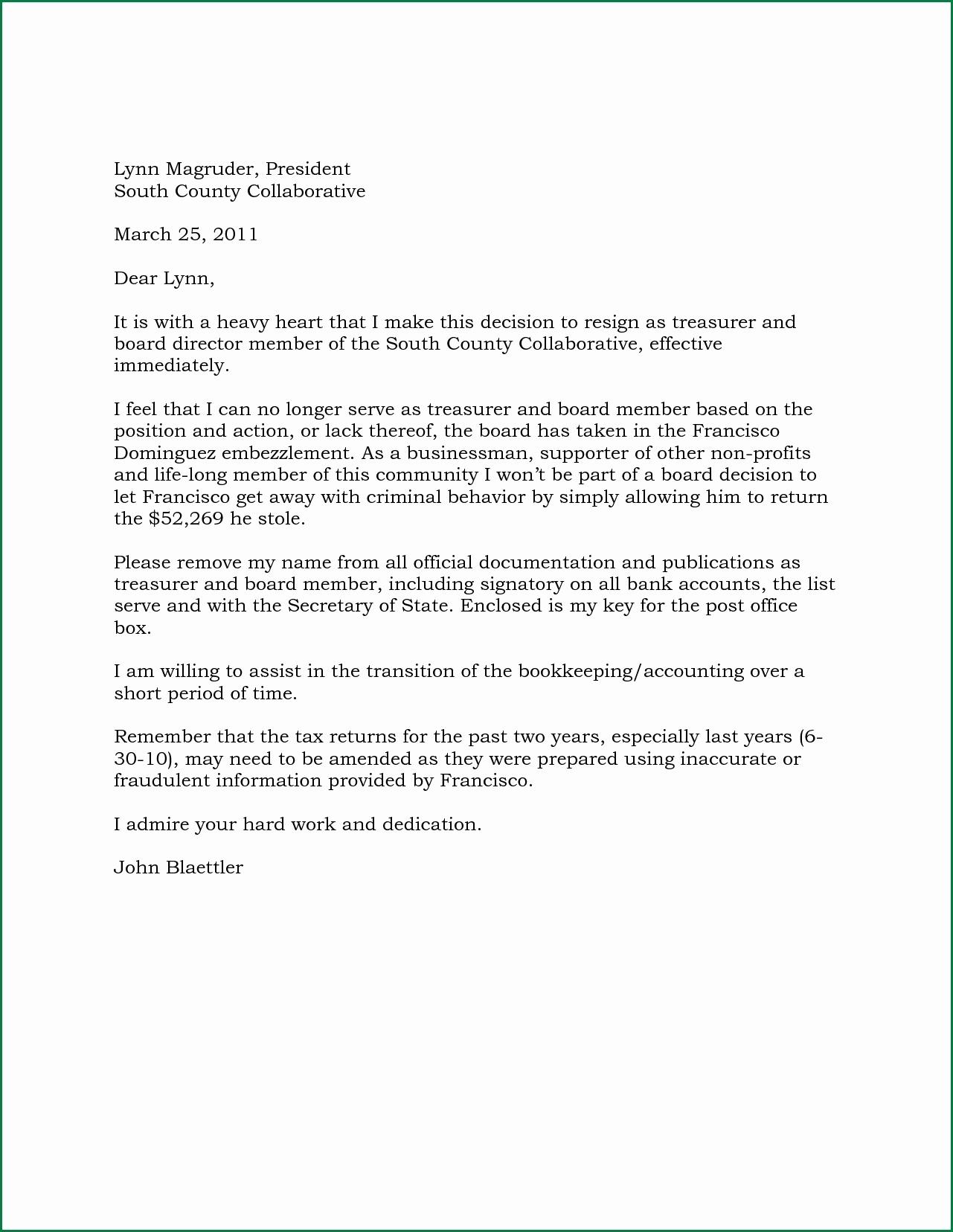 Board Member Resignation Letter Template - Resignation Letter Non Profit organization Beautiful Director