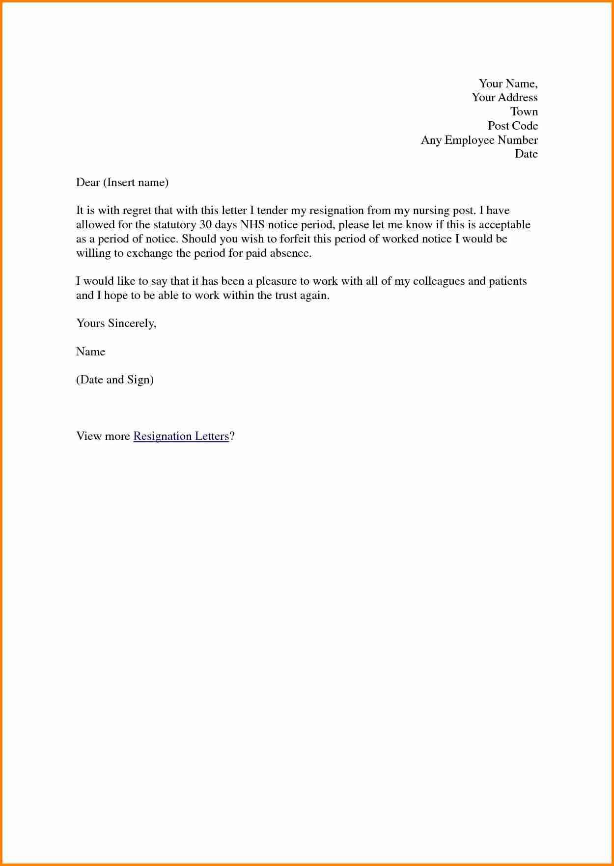 Letter Of Resignation Nursing Template