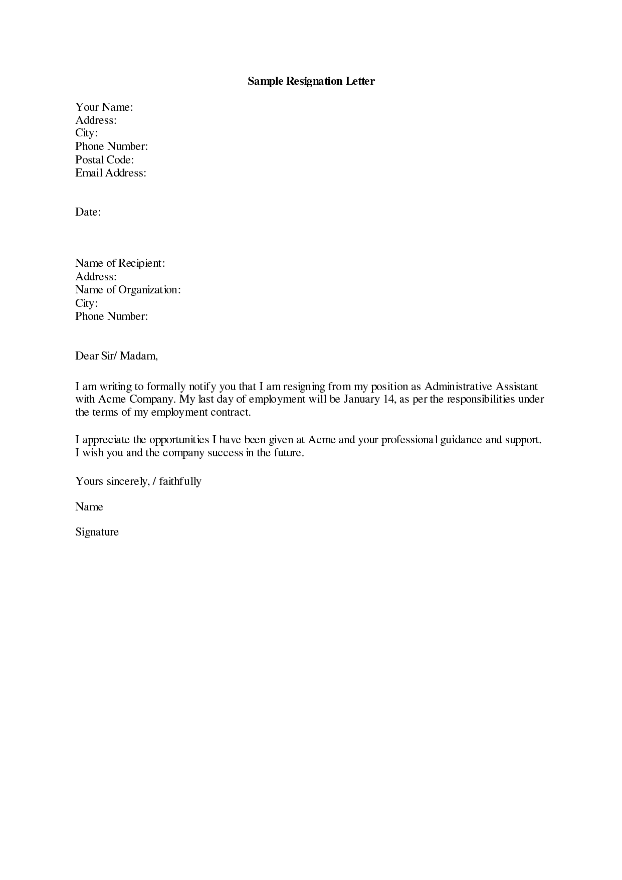 Work Resignation Letter Template - Resignation Letter Sample 19 Letter Of Resignation