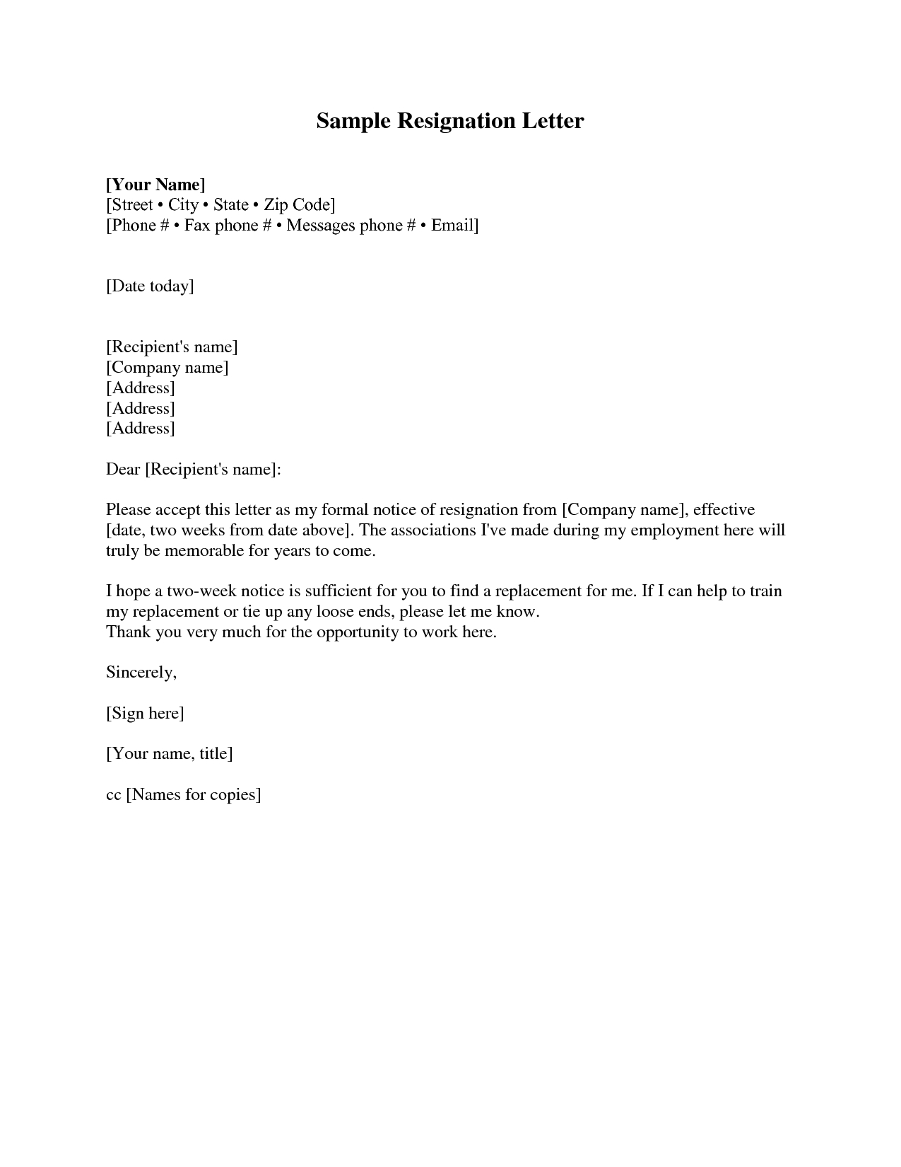 official letter of resignation template example-resignation letter sample 2 weeks notice 19-g
