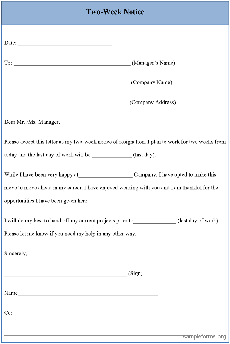 7 Day Notice Letter Construction Template - Resignation Letter Sample 2 Weeks Notice