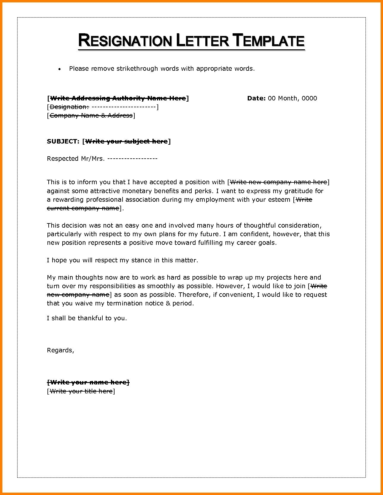 resignation letter template word resignation letter sample notice period waiver new resignation