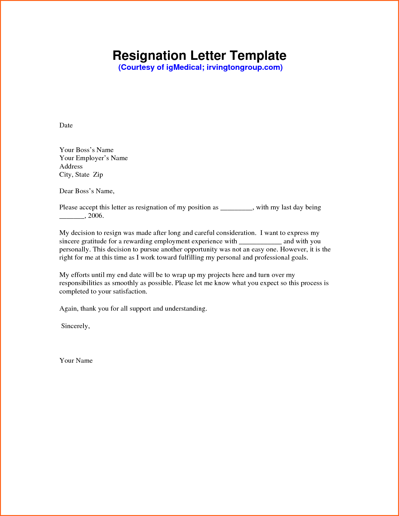 Sample Resignation Letter Template - Resignation Letter Sample Pdf Mechanical Engineering Resume Template